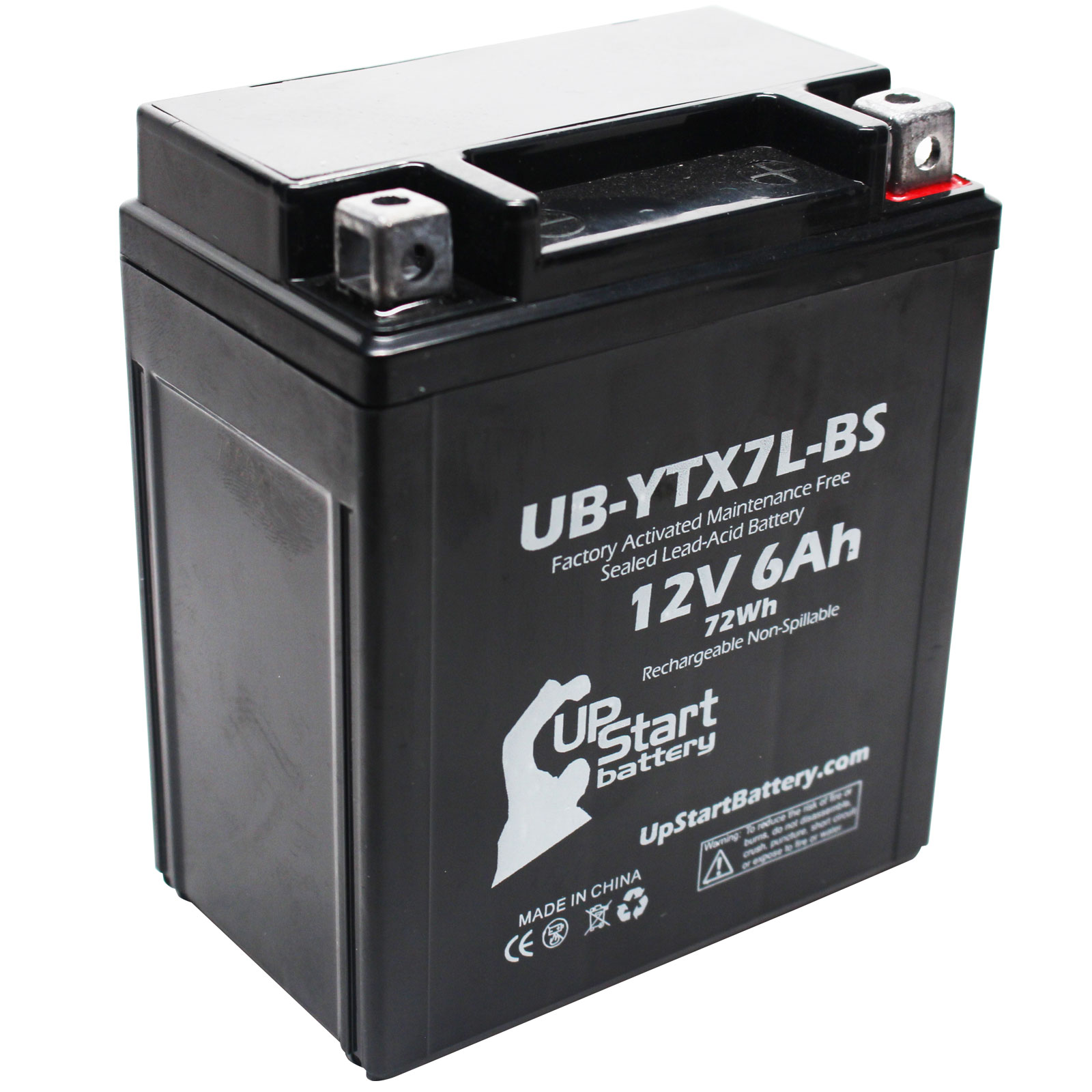 Replacement 2006 Kawasaki EX250 Ninja 250CC Factory Activated, Maintenance Free, Motorcycle Battery - 12V, 6Ah, UB-YTX7L-BS