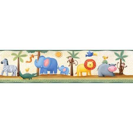 JUNGLE SAFARI ANIMALS Peel and Stick WALLPAPER BORDER Baby Nursery Wall Decor ()