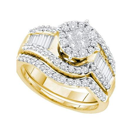 14kt Yellow Gold Womens Princess Diamond Bridal Wedding Engagement Ring Band Set 1-1/4 Cttw - image 1 of 1