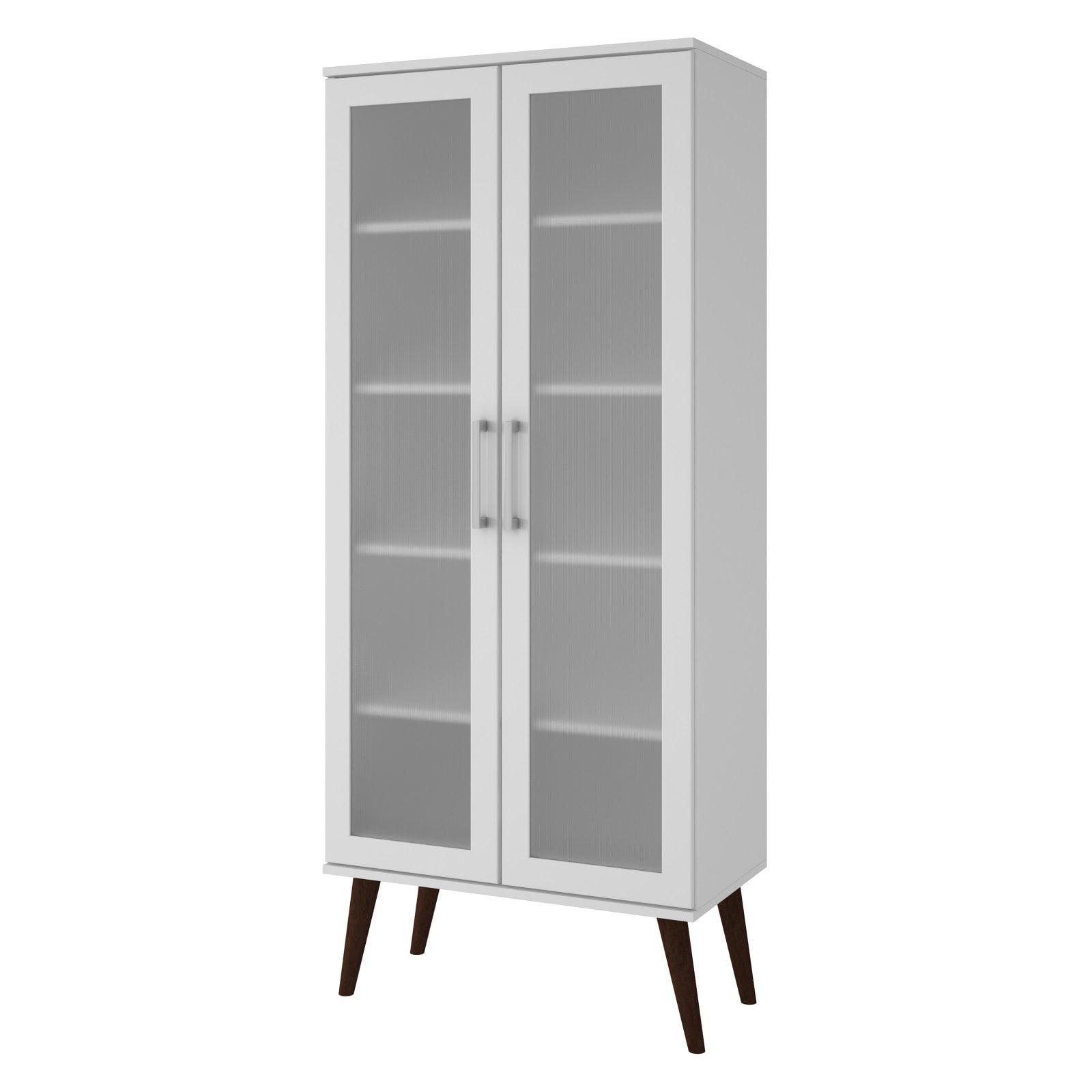 Manhattan Comfort Serra 2 0 Barrister Bookcase With Splayed Wooden Legs Walmart Com