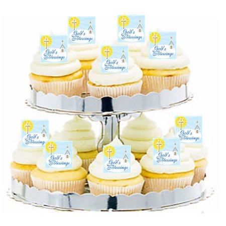 24pk First Communion / Baptism God's Blessings Edible Cupcake  Decoration Toppers / Picks - First Communion Cupcakes