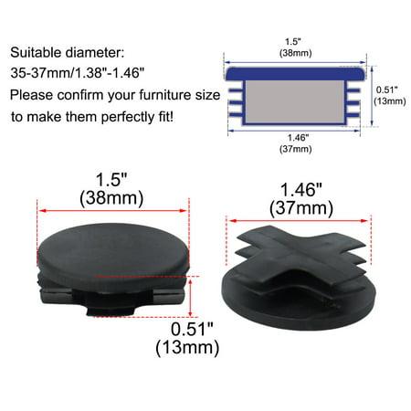 "30pcs 38mm OD Plastic Round Tube Insert Ribbed Pipe Cover Caps Black Table Floor Protector, 1.38""-1.46"" Inner Dia - image 5 de 7"