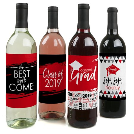 Red Grad - Best is Yet to Come - Red 2019 Graduation Party Decorations for Women and Men - Wine Bottle Label Stickers