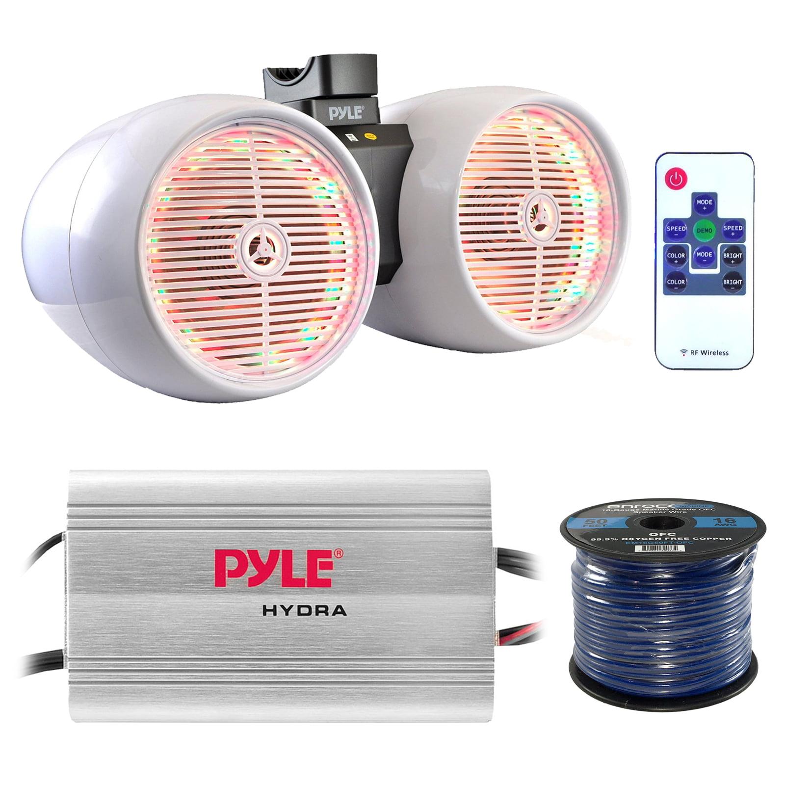"Marine Speaker And Amp Combo: Pyle PLMRMP3A 4 Channel 1200 Watt Waterproof  MP3 Power Amplifier Bundle With 6.5"" 400W Dual Wakeboard Waterproof LED  White ..."