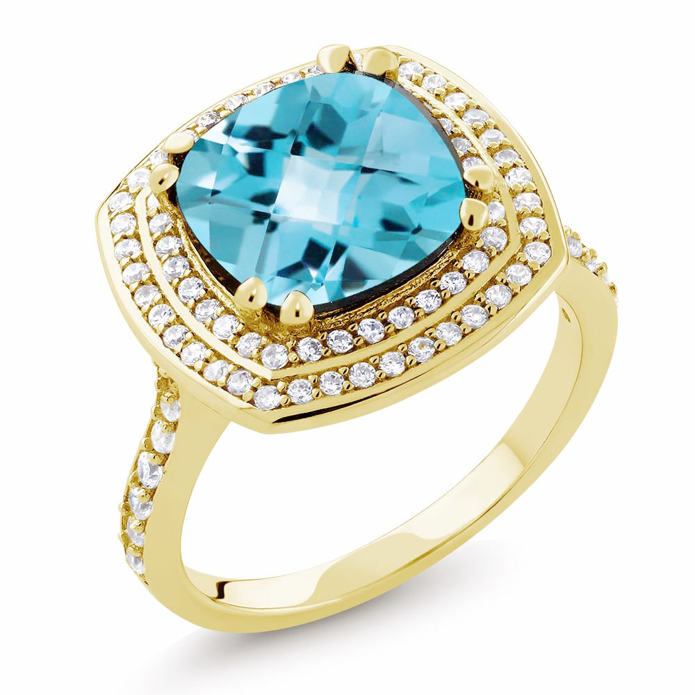 Sky Blue Topaz 5.87Ct Cushion Cut IOBI Precious Gems Ring 7 by Feshionn IOBI