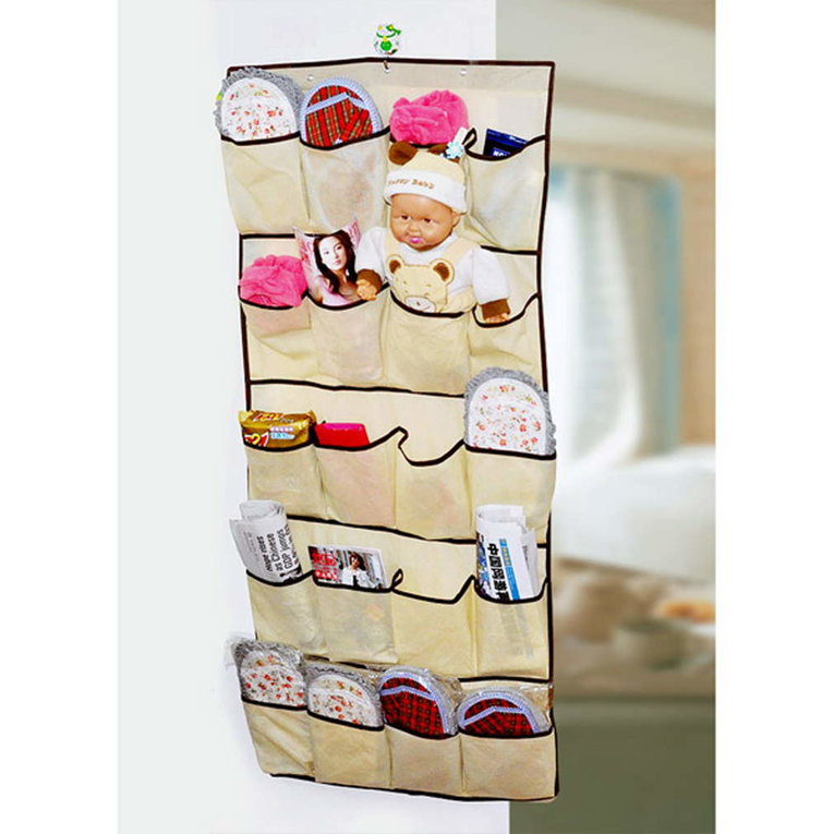 20 Pockets Over Door Cloth Shoe Organizer Hanging Hanger Closet Space Storage