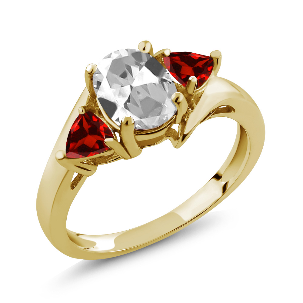 1.98 Ct Oval White Topaz Red Garnet 14K Yellow Gold Ring