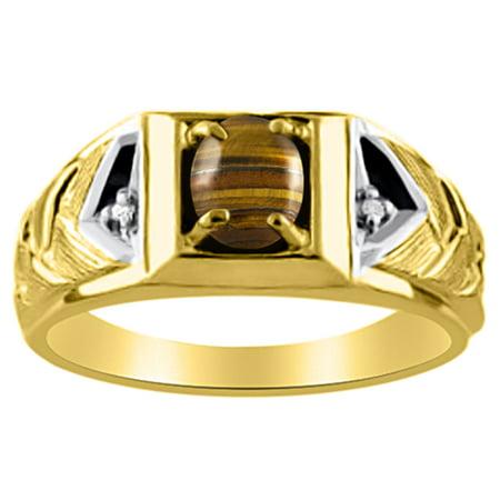 Men's Tigers Eye & Diamond Ring Yellow Gold Plated