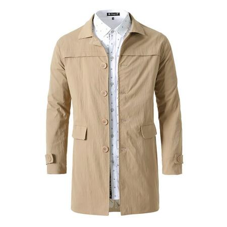 Unique Bargains Single Breasted Front Flat Pockets Trench Coat Jacket (Men's) Magnum Jacket Flat