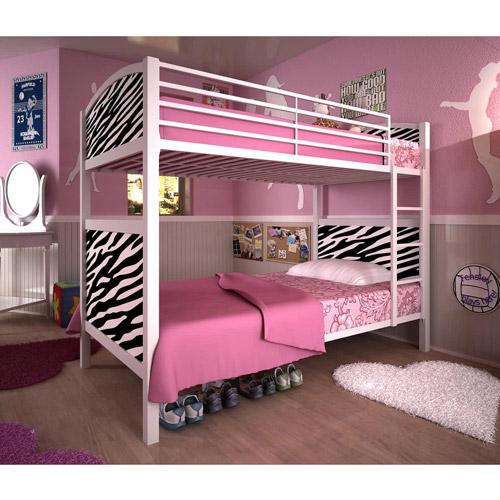 dorel white metal twin bunk bed, zebra - walmart