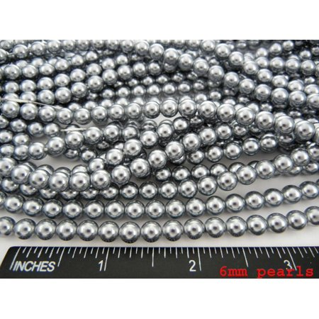 UnCommon Artistry Wholesale Bulk Glass Pearl Beads- 20 Strands, 145 pcs per Strand- 2900 Beads(Silver, 6mm)](Bulk Pearls)