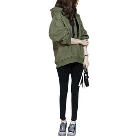 Hooded Sweatshirt Women Pullover Hoodies Tops Long Sleeve Hoody Coat Winter Casual Outwear  Side Zipper Jumper Blouse