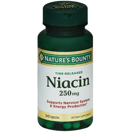 2 Pack - Nature's Bounty Natural Time Release Niacin 250 mg Capsules 90 ea ()