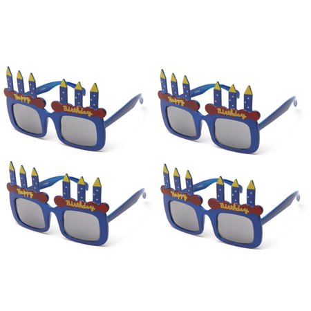 Kyra Kids Happy Birthday Cake Candles 4 Packs Shaped Party Sunglasses Fun Boys Girls Props
