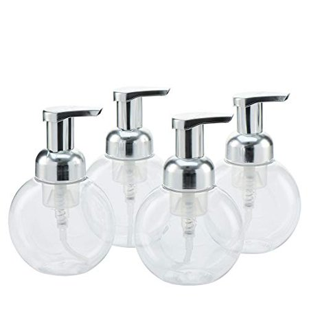MHO Containers | Clear Foaming Soap Dispenser with Matte Silver Pump, Locking Mechanism, BPA/Paraben Free PET Plastic, 250mL/8.5fl oz - Set of 4 ()