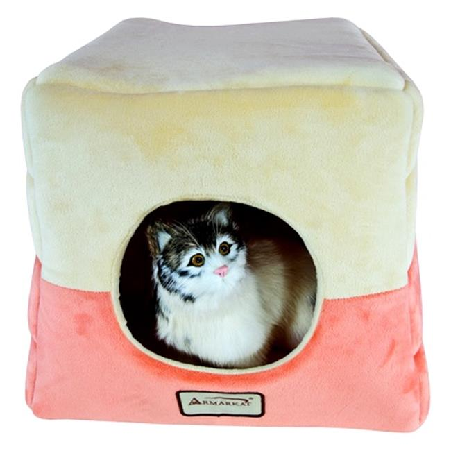 Aeromark C07CCS-MH Armarkat Pet Bed Cat Bed 16 x 16 x 14 - Orange & Beige