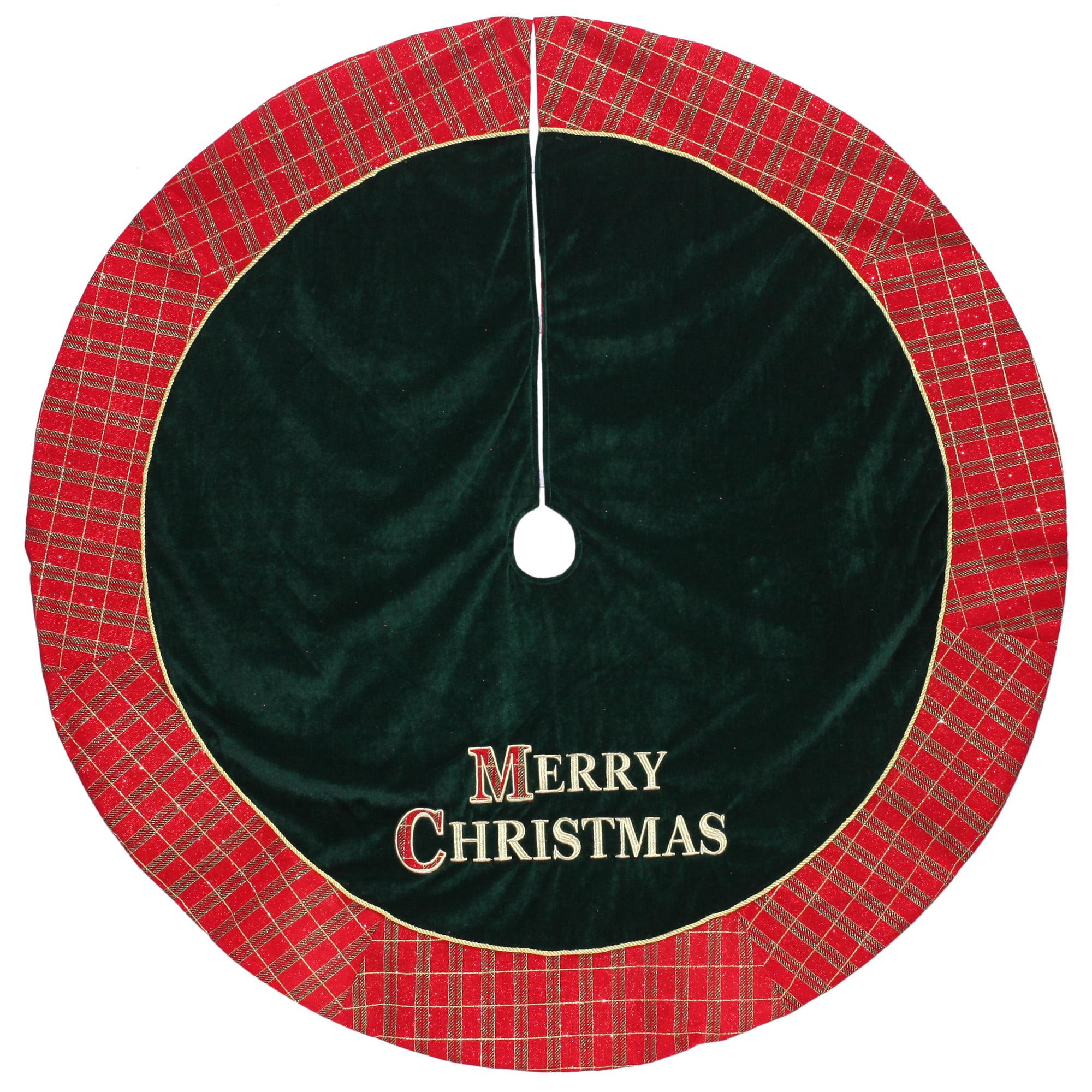 "48"" Red and Green ""MERRY CHRISTMAS"" Plaid Christmas Tree ..."