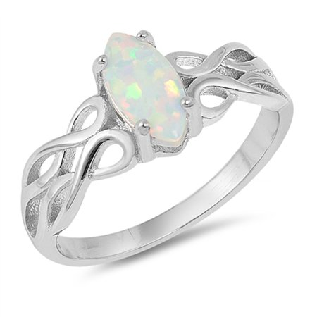CHOOSE YOUR COLOR Marquise White Simulated Opal Filigree Ring Sterling Silver Infinity Band (White Simulated Opal/Ring Size 7)