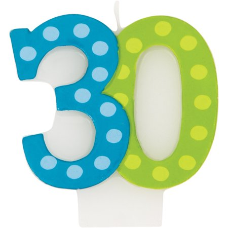 Molded Numeral Candle with Balloon 30th Bright And Bold, Case of 6](Decorating With Crepe Paper And Balloons)