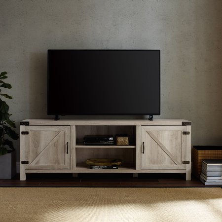 70 Barn Door Tv Stand With Side Doors For Tvs Up To 75 White Oak