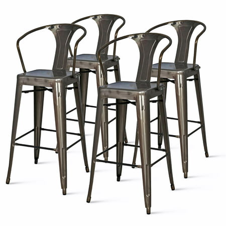 Astounding Metropolis Metal Arm Bar Stool Set Of 4 Multiple Colors Caraccident5 Cool Chair Designs And Ideas Caraccident5Info