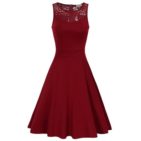 Ann Taylor Lace (Very Ann Women Sleeveless Round Neck Floral Lace A-line Swing Dress Color:Claret)