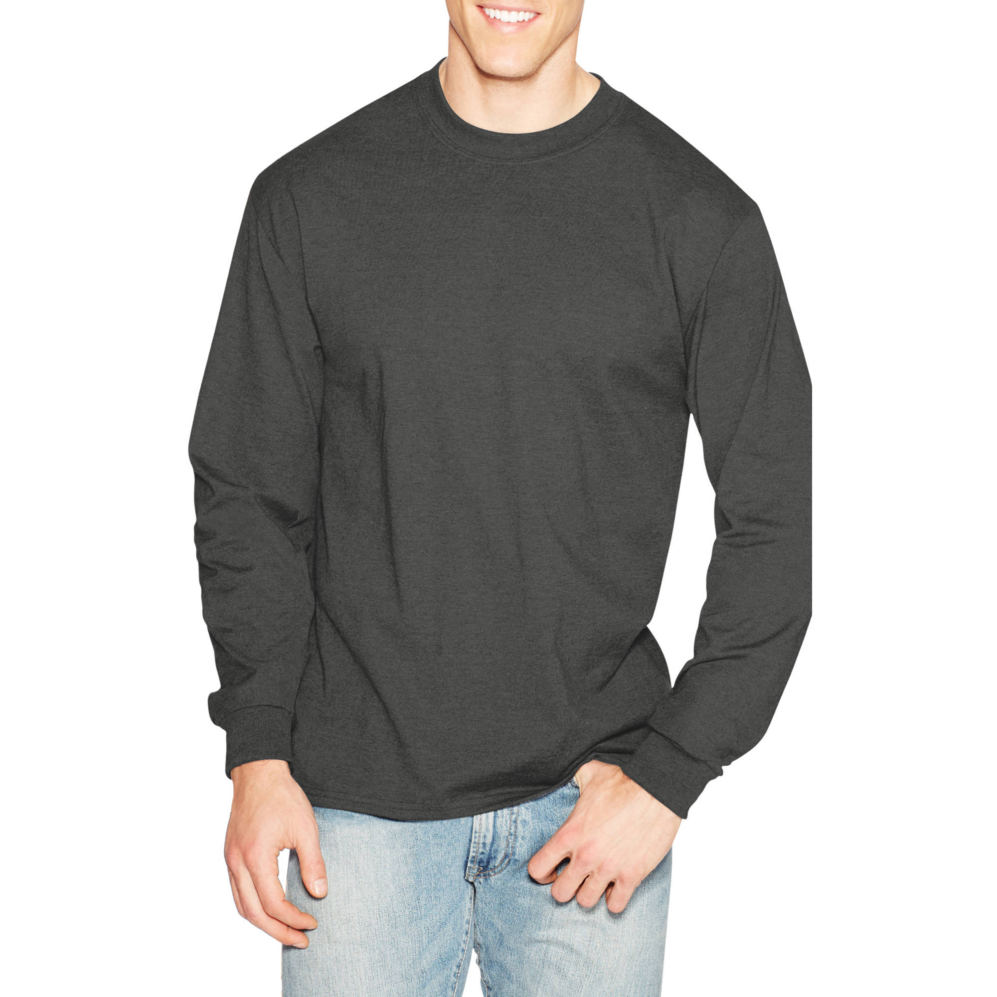 Hanes men s long sleeve t shirts artee shirt for Mens long sleeve white t shirt