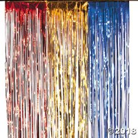 Red, Yellow Gold & Blue Curtain Foil Fringe