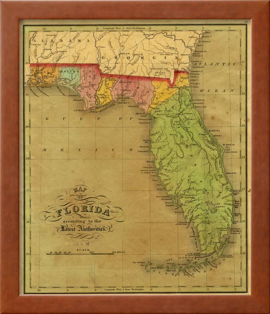Map Of Florida 1826 Framed Print Wall Art By A Finley Walmart Com