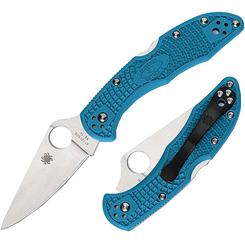 Spyderco Delica 4 Lightweight Blue FRN Flat Ground PlainEdge Folding Knife