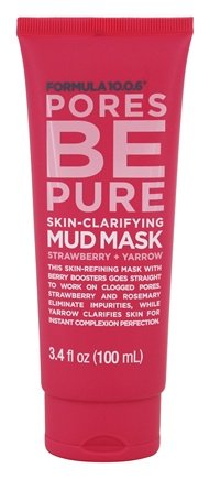 Pores be Pure Skin-Clarifying Facial Mud Mask - 3.4 oz. by Formula 10.0.6 (pack of 3) Vitamin B3 Facial Serum Niacinamide 5% - 1oz Moisturizing Face Cream Pore Tightener Wrinkle Reducer & Collagen Booster Antiaging - for Dark Spots Breakouts Acne Fine Lines Age Spots Premium Nature