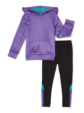 Cheetah Toddler Girls Performance Fleece Hoodie & Colorblock Legging, 2-Piece Active Set (2T-5T)