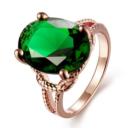 Gold Plated Tiffany's Classic Emerald Ring Size (Tiffany Rose Gold)