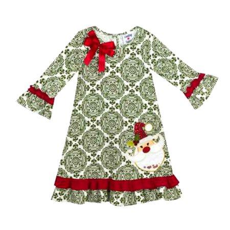 Green Santa Dress (Girls Christmas Dress - Green Geometric Santa Bow Dress)