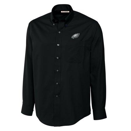 Philadelphia Eagles Black Cutter (Philadelphia Eagles Cutter & Buck Big & Tall Epic Easy Care Woven Long Sleeve Shirt - Black )