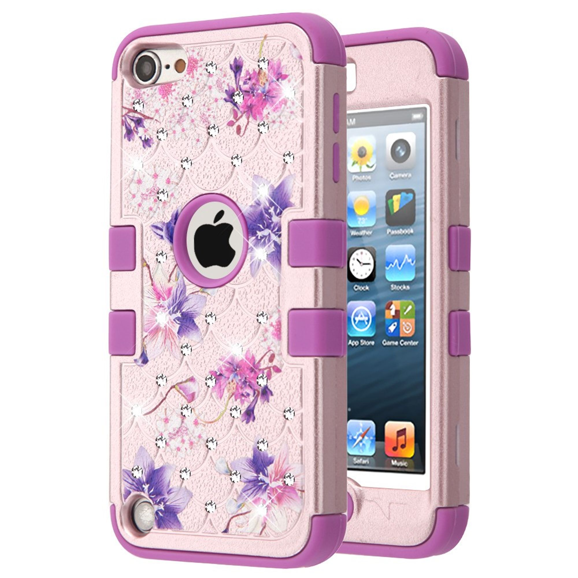 iPod Touch 6th generation case by Insten Full Star Flowers Dual Layer Hybrid PC/TPU Rubber Case Cover With Diamond For Apple iPod Touch 5th Gen/6th Gen