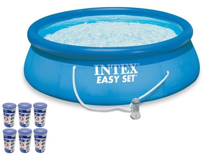 "Intex 15' x 48"" Easy Set Swimming Pool Kit w/ 1000 GPH GFCI Filter Pump 