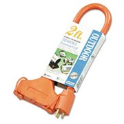 Coc 04112 2 ft. Tri-Source Vinyl Multiple Outlet Cord, 3-Way - Orange
