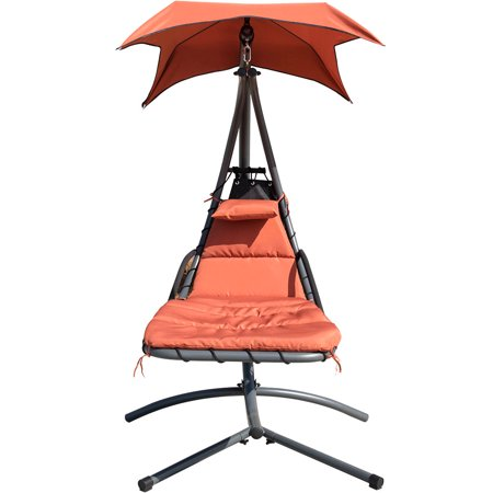 Finether Hanging Chaise Lounge Chair Outdoor Indoor Hammock Chair Swing with Arc Stand, Canopy and Cushion for Patio Beach Bedroom Yard Garden, Nail polish included for Scratch Repair,