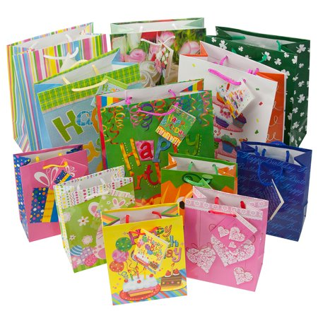 Set of 12 Gift Bags Set Birthday Valentines Easter Halloween Bulk Small Lot Handles