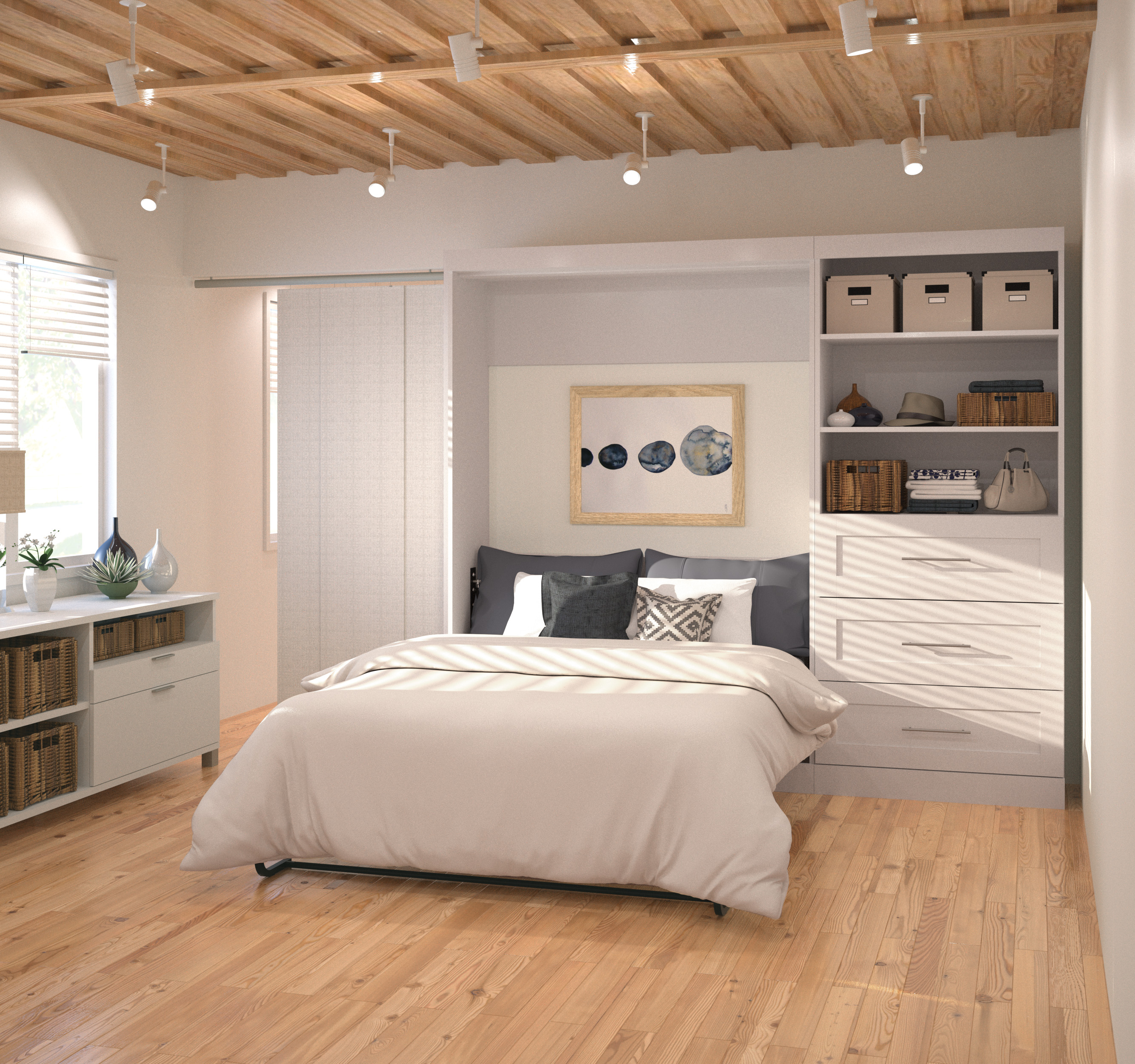 "Pur by Bestar 95"" Full Wall bed kit in White"