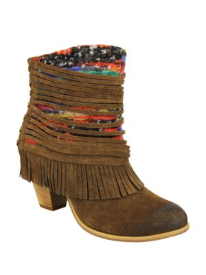 Talyhoe Fringe and Lace Suede Ankle Boots
