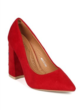 f11a121afea7 Product Image Women Faux Suede Pointy Toe Embroidered Block Heel Pump HI32