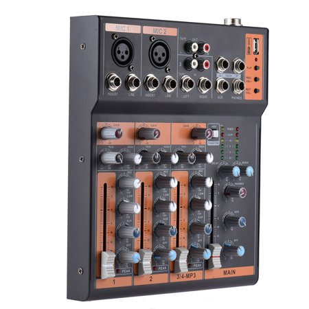 Portable 4-Channel Mic Line Audio Mixer Mixing Console 3-band EQ USB Interface 48V Phantom Power with Power