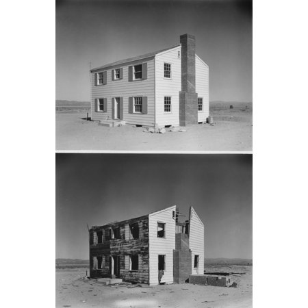 Nuclear Operation Cue Tested Buildings Ability To Survive Atomic Bombs Before And After Photos Of A Two-Story Wood Frame House 5