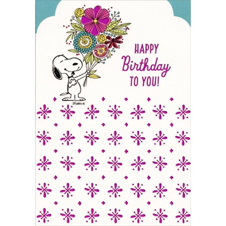 Hallmark Peanuts Snoopy With Large Flower Bouquet Family Birthday Card For Her
