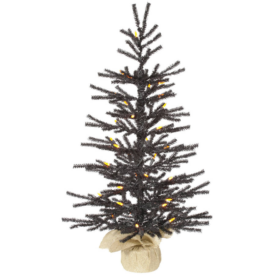 "Vickerman 30"" Black Pistol Artificial Christmas Tree with 35 Orange LED Lights"