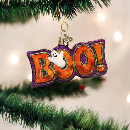 Old World Christmas Boo Word Ghost Glass Halloween Ornament 26077 FREE BOX New](Old World Market Halloween)