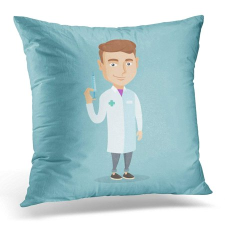 ARHOME Needle Caucasian Doctor Holding Medical Injection Syringe Young Standing with Ready for Flat Design Shot Pillow Cover 16x16 Inches Throw Pillow Case Cushion
