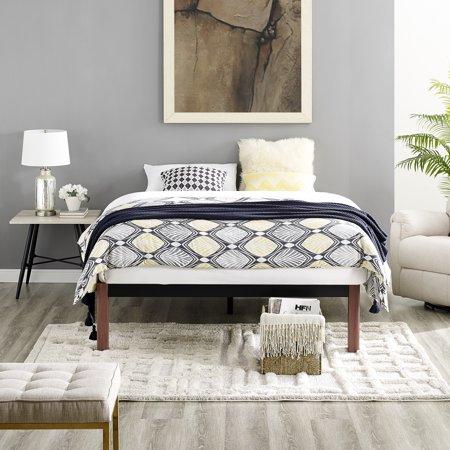 Modern Sleep Devon Wood Slat and Metal Platform Bed Frame   Mattress Foundation, Multiple Sizes ()
